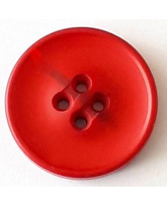 Polyesterknopf mit optischer Bruchstelle mit 4 Löchern - Größe: 20mm - Farbe: rot - Art.Nr. 338709