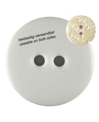 Polyesterknopf marmoriert, beidseitig verwendbar mit 2 Löchern - Größe: 18mm - Farbe: weiss - Art.Nr. 311019