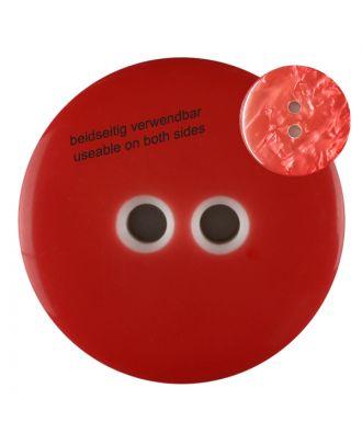 Polyesterknopf marmoriert, beidseitig verwendbar mit 2 Löchern - Größe: 18mm - Farbe: rot - Art.Nr. 312813
