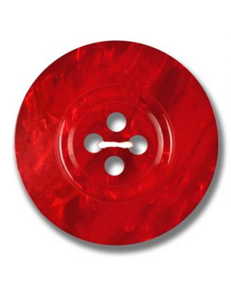 Polyesterknopf 4-Loch Perlmutimitation glänzend - Größe: 28mm - Farbe: rot - Art.Nr. 383809