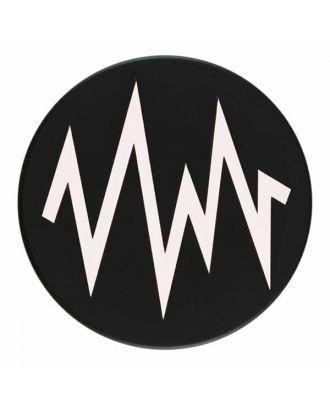 2-lagiger schwarzer Knopf mit farbigem Zick-Zack und Öse - Größe: 28mm - Farbe: weiß - Art.Nr. 400277