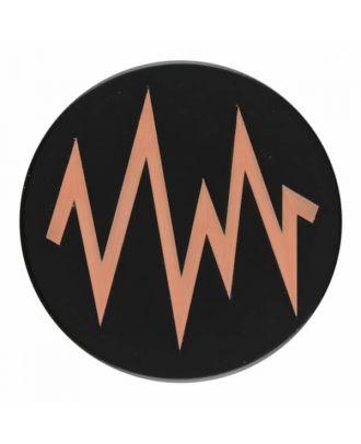 2-lagiger schwarzer Knopf mit farbigem Zick-Zack und Öse - Größe: 28mm - Farbe: beige - Art.Nr. 404812