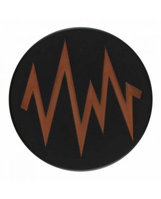2-lagiger schwarzer Knopf mit farbigem Zick-Zack und Öse - Größe: 28mm - Farbe: beige - Art.Nr. 404813