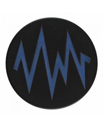 2-lagiger schwarzer Knopf mit farbigem Zick-Zack und Öse - Größe: 28mm - Farbe: blau - Art.Nr. 404814