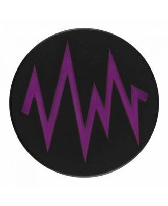 2-lagiger schwarzer Knopf mit farbigem Zick-Zack und Öse - Größe: 28mm - Farbe: lila - Art.Nr. 404815