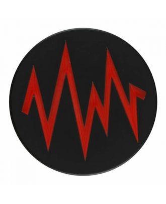 2-lagiger schwarzer Knopf mit farbigem Zick-Zack und Öse - Größe: 28mm - Farbe: rot - Art.Nr. 404819