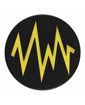 2-lagiger schwarzer Knopf mit farbigem Zick-Zack und Öse - Größe: 28mm - Farbe: gelb - Art.Nr. 404820