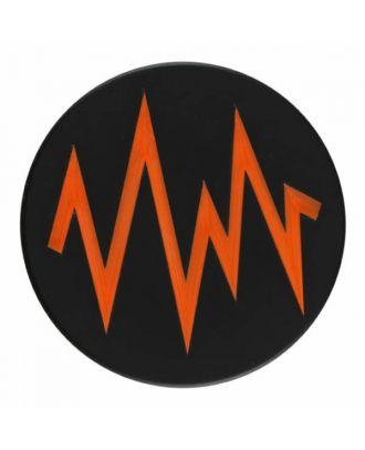 2-lagiger schwarzer Knopf mit farbigem Zick-Zack und Öse - Größe: 28mm - Farbe: orange - Art.Nr. 404821
