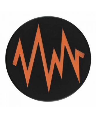 2-lagiger schwarzer Knopf mit farbigem Zick-Zack und Öse - Größe: 28mm - Farbe: orange - Art.Nr. 404822