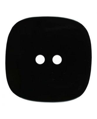 viereckiger transparenter Knopf mit Glitter, 2-Loch - Größe: 30mm - Farbe: schwarz - Art.Nr. 400276