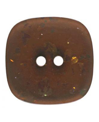 viereckiger transparenter Knopf mit Glitter, 2-Loch - Größe: 30mm - Farbe: braun - Art.Nr. 404800