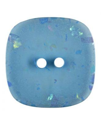 viereckiger transparenter Knopf mit Glitter, 2-Loch - Größe: 30mm - Farbe: blau - Art.Nr. 404801