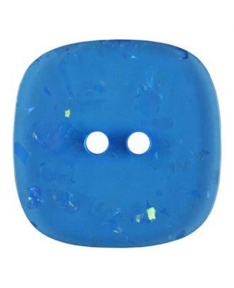 viereckiger transparenter Knopf mit Glitter, 2-Loch - Größe: 30mm - Farbe: blau - Art.Nr. 404802