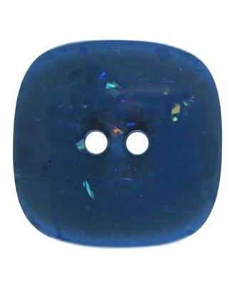 viereckiger transparenter Knopf mit Glitter, 2-Loch - Größe: 30mm - Farbe: dunkelblau - Art.Nr. 404803