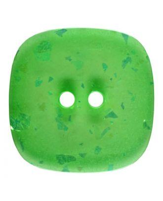 viereckiger transparenter Knopf mit Glitter, 2-Loch - Größe: 30mm - Farbe: hellgrün - Art.Nr. 404804