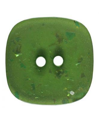 viereckiger transparenter Knopf mit Glitter, 2-Loch - Größe: 30mm - Farbe: grün - Art.Nr. 404805