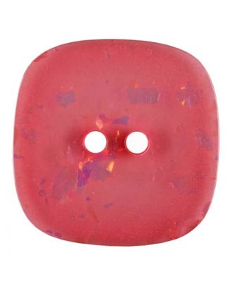 viereckiger transparenter Knopf mit Glitter, 2-Loch - Größe: 30mm - Farbe: rose/pink - Art.Nr. 404806