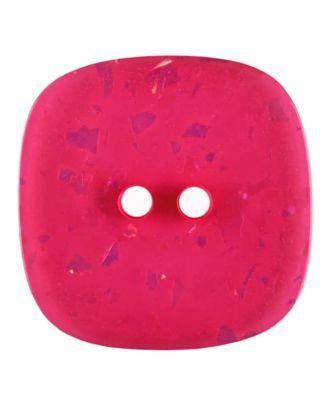 viereckiger transparenter Knopf mit Glitter, 2-Loch - Größe: 30mm - Farbe: rose/pink - Art.Nr. 404807