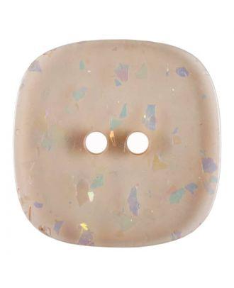 viereckiger transparenter Knopf mit Glitter, 2-Loch - Größe: 30mm - Farbe: rose/pink - Art.Nr. 404808