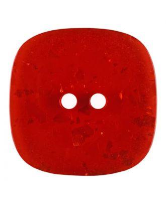 viereckiger transparenter Knopf mit Glitter, 2-Loch - Größe: 30mm - Farbe: rot - Art.Nr. 404809