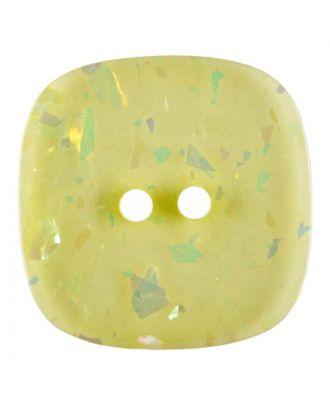 viereckiger transparenter Knopf mit Glitter, 2-Loch - Größe: 30mm - Farbe: gelb - Art.Nr. 404810
