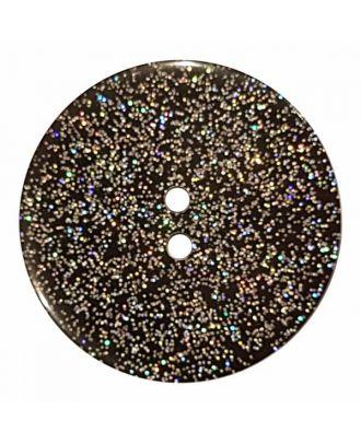 Knopf mit Glitter, 2-Loch - Größe: 23mm - Farbe: schwarz - Art.Nr. 380382