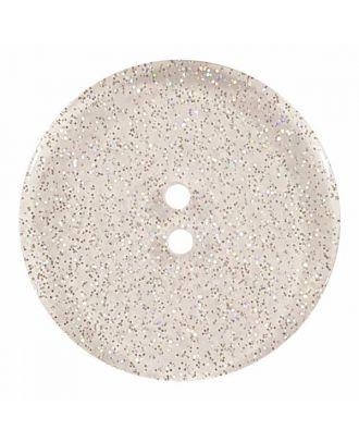 transparenter Knopf mit Glitter, 2-Loch - Größe: 28mm - Farbe: transparent - Art.Nr. 400281
