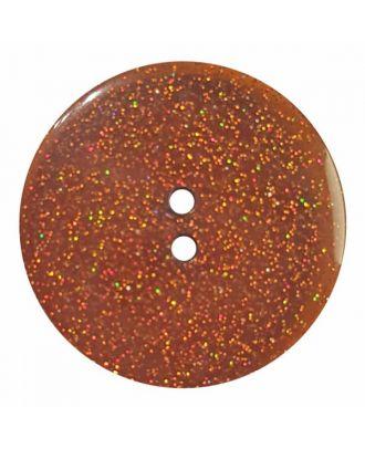 transparenter Knopf mit Glitter, 2-Loch - Größe: 28mm - Farbe: braun - Art.Nr. 404824