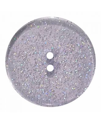 transparenter Knopf mit Glitter, 2-Loch - Größe: 18mm - Farbe: blau - Art.Nr. 344879