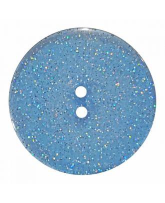 transparenter Knopf mit Glitter, 2-Loch - Größe: 18mm - Farbe: blau - Art.Nr. 344880