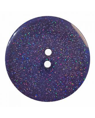 transparenter Knopf mit Glitter, 2-Loch - Größe: 28mm - Farbe: dunkelblau - Art.Nr. 404827