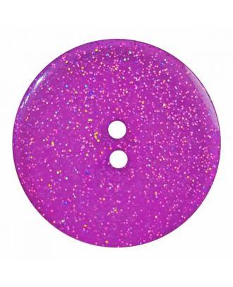 transparenter Knopf mit Glitter, 2-Loch - Größe: 28mm - Farbe: lila - Art.Nr. 404828