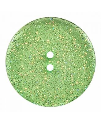 transparenter Knopf mit Glitter, 2-Loch - Größe: 28mm - Farbe: hellgrün - Art.Nr. 404829