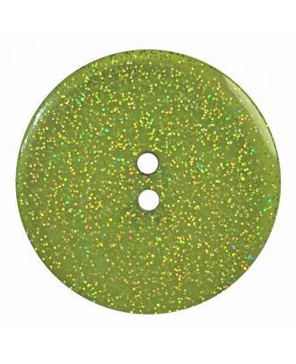 transparenter Knopf mit Glitter, 2-Loch - Größe: 28mm - Farbe: grün - Art.Nr. 404830