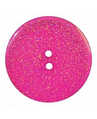 transparenter Knopf mit Glitter, 2-Loch - Größe: 28mm - Farbe: rose/pink - Art.Nr. 404831