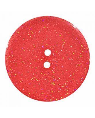 transparenter Knopf mit Glitter, 2-Loch - Größe: 28mm - Farbe: rot - Art.Nr. 404832