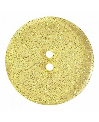 transparenter Knopf mit Glitter, 2-Loch - Größe: 28mm - Farbe: gelb - Art.Nr. 404833
