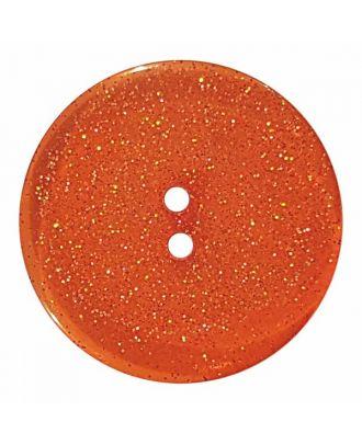 transparenter Knopf mit Glitter, 2-Loch - Größe: 28mm - Farbe: orange - Art.Nr. 404834