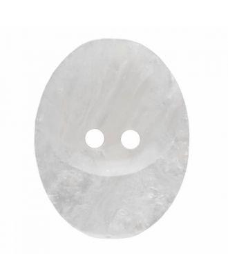 ovaler Knopf Polyester mit zwei Löchern - Größe: 30mm - Farbe: weiß - Art.Nr. 380396