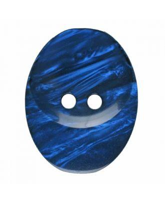 ovaler Knopf Polyester mit zwei Löchern - Größe: 30mm - Farbe: blau - Art.Nr. 385830