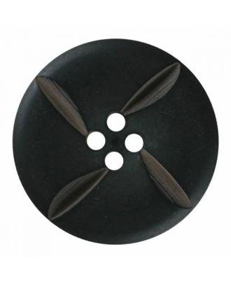 runder Knopf Polyester mit vier Kerben und vier  Löchern - Größe: 28mm - Farbe: schwarz - Art.Nr. 380395