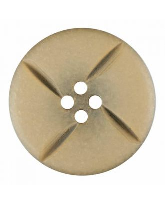 runder Knopf Polyester mit vier Kerben und vier  Löchern - Größe: 28mm - Farbe: beige - Art.Nr. 385813