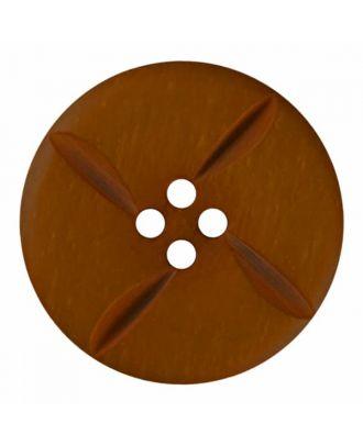 runder Knopf Polyester mit vier Kerben und vier  Löchern - Größe: 28mm - Farbe: braun - Art.Nr. 385814
