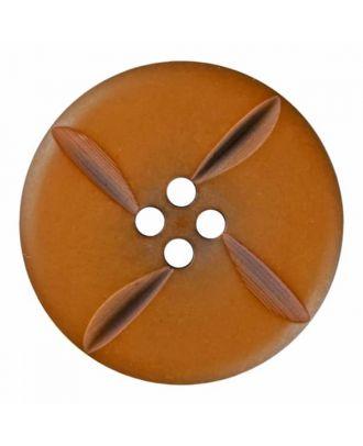 runder Knopf Polyester mit vier Kerben und vier  Löchern - Größe: 28mm - Farbe: braun - Art.Nr. 385815