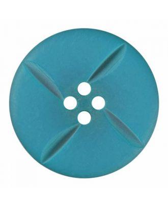 runder Knopf Polyester mit vier Kerben und vier  Löchern - Größe: 28mm - Farbe: blau - Art.Nr. 385816