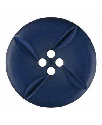 runder Knopf Polyester mit vier Kerben und vier  Löchern - Größe: 28mm - Farbe: blau - Art.Nr. 385817