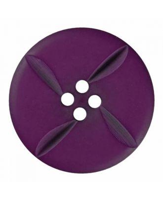 runder Knopf Polyester mit vier Kerben und vier  Löchern - Größe: 28mm - Farbe: lila - Art.Nr. 385818