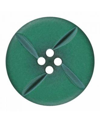 runder Knopf Polyester mit vier Kerben und vier  Löchern - Größe: 28mm - Farbe: grün - Art.Nr. 385820