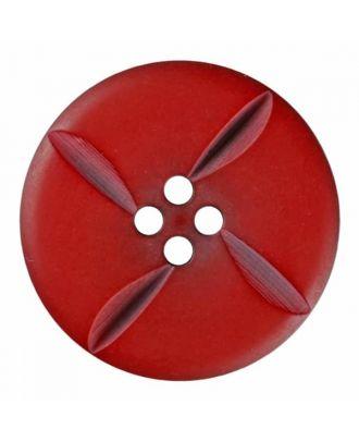 runder Knopf Polyester mit vier Kerben und vier  Löchern - Größe: 28mm - Farbe: rot - Art.Nr. 385823