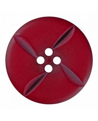 runder Knopf Polyester mit vier Kerben und vier  Löchern - Größe: 28mm - Farbe: weinrot - Art.Nr. 385821